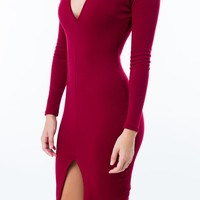 V Sleek Slit Bodycon Dress GoJane.com