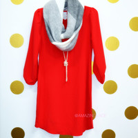 Casual Affair Red Button Sleeve Shift Dress
