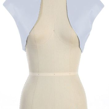 CLEARANCE - Cap Sleeve White Bolero Jacket Satin (Size L, XL)