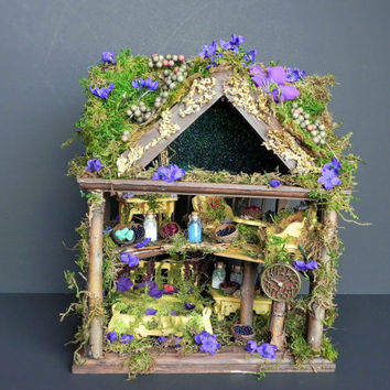 Woodland fairyhouse, fairy dollhouse, fairy garden, indoor garden, fairy display. Fairy furniture, fairy apothecary, miniature furniture.