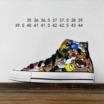 Kuyou Fa19630 Looney Tunes X Converse Chuck Taylor All Star Hi Top Canvas Shoes