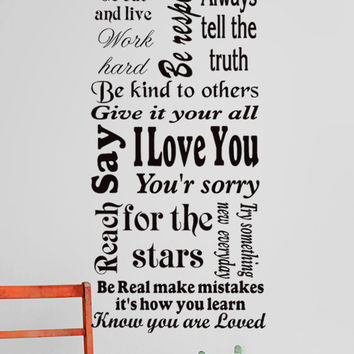 Family rules wall decal, words of inspiration and wisdom, wall sticker mural, childrens rules.