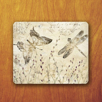 Butterfly and dragonfly Mouse Pad Drawing Art Vintage Old Picture MousePad Office Pad Work Accessory Personalized Custom Gift