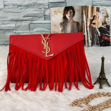 One-nice™ YSL Tassel Women Shopping Leather Metal Chain Crossbody Satchel Shoulder Bag(7-Color) Red I-MYJSY-BB