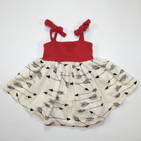 Arrows Organic Summer Dress in Red for Babies