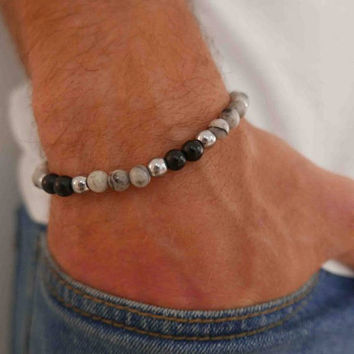 Men's Beaded Bracelet - Men's Cuff Bracelet - Men's Bracelet - Men's Jewelry - Men's Gift - Husband Gift - Boyfriend Gift - Present For Men