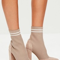 Missguided - Nude Knitted Stripe Pointed Ankle Boots