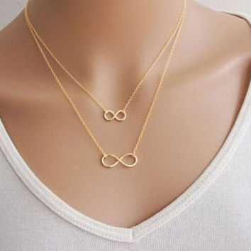 Silver Women Girl Fashion Jewelry Double Infinity Pendant Necklace Wedding Event Necklaces  XY-N503