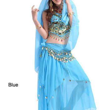 2014 new belly dance India dance costume suits performing service upscale exercise suits T007-Blue