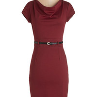 ModCloth Mid-length Cap Sleeves Sheath This Magic Memo-ment Dress in Crimson