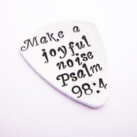 guitar pick keychain, guitar plectrum, make a joyful noise, psalm 98:4 religious christian gift, aluminum pick, mens gift boyfriend birthday