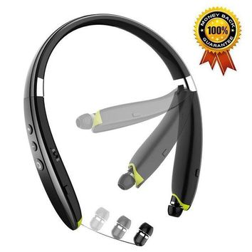 VONW3Q Foldable Bluetooth Headset,Besyoyo Wireless Bluetooth Headphones with Retractable Earbuds,Handsfree Calling Bluetooth Sweat proof Sport Headphones Built in Mic for Bluetooth Enabled Devices