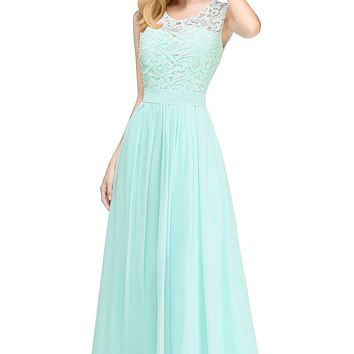 Chiffon Evening Dresses A line Long Formal Prom Party Dress mint green burgundy Lace Evening Dress Gown