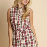 Raw-Cut Plaid Shirt Dress, Red