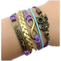 Healthtop Handmade Infinity Love Owl Purple Blue Yellow Leather Rope Wrap Bracelets Friendship Bangle
