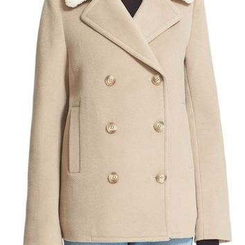 T by Alexander Wang Double Breasted Wool & Cashmere Peacoat with Genuine Shearling Collar | Nordstrom
