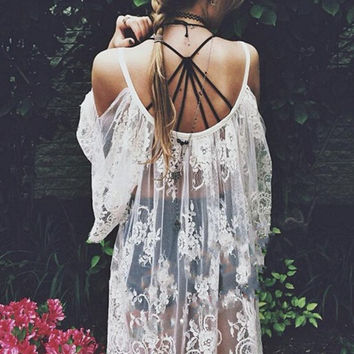White Off-The-Shoulder Lace Tunic Dress