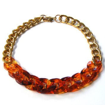 Chunky Tortoise Shell Statement Necklace Heavy Gold Chain