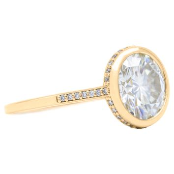 9.5mm Round Moissanite 14K Yellow Gold Bezel Set Diamond Halo with Cathedral U Shaped Gallery Ring 3.60 Carat Total Weight