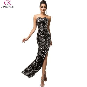 Sexy Black Evening Dress Grace Karin Glitter High Slits Gold Sequin Formal Gowns Robe De Soiree Long Evening Wedding Party Dress