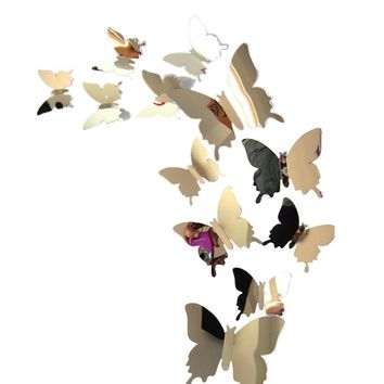 Metallic Shimmer Butterfly Wall Decal 3D Sticker Set