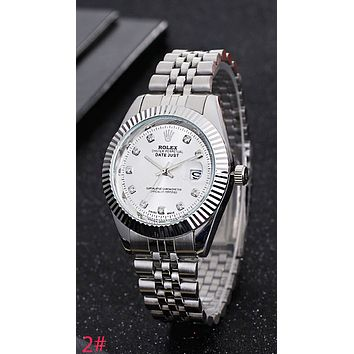 Rolex Fashion Women Men Casual Business Sport Movement Watch Lovers Wrist Watch Silvery I-YY-ZT