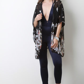 Semi-Sheer Feather Side Vent Lightweight Kimono