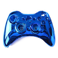 HDE Custom Replacement Wireless Game Controller Shell Case Cover Kit for Xbox 360 (Blue Chrome)