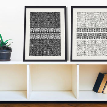 Swedish Inspired Tribal Minimal Wall Art Set of 2 Prints – 8 x 10 or 11 x 14