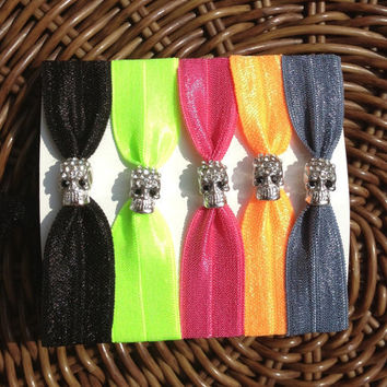 Silver Rhinestone Skull Elastic Hair Ties (and Bracelets)