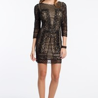 Beaded 3/4 Sleeve Illusion Dress