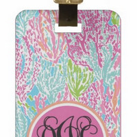 Personalized Luggage Tag or Briefcase Tag - Coral 2 sizes