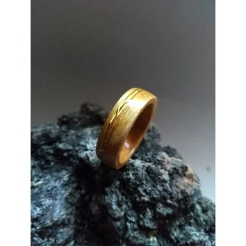 Aspen and Gold Braid Bent Wood Ring