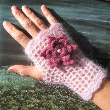 Pink Mohair mittens fingerless gloves Alpaca Silk flower victorian crochet lace steampunk pink glass pearl