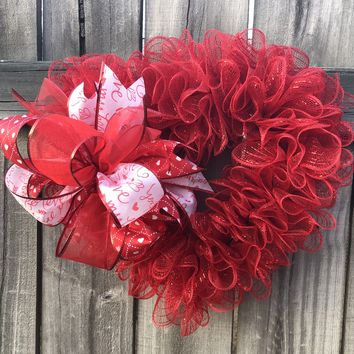 Valentine Heart Shaped Wreath | Red Mesh Wreath | Door Hanger | Door Decor | Burlap Bowtique