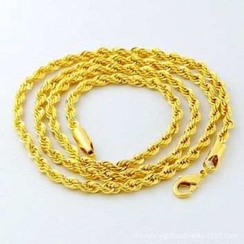 New Fashion Mens Gold Filled 5mm Twisted Rope Chain Necklace 30 Inches