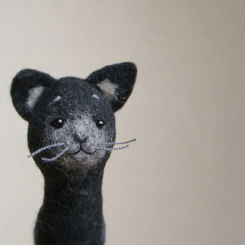 Felix - Felt Cat. Art Puppet Felted Stuffed Toy Animal Kitten marionette, mteam black, grey, silver, dark, deep, for him. MADE TO ORDER