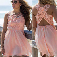 Lace Patchwork Chiffon Beach Dress B0015246