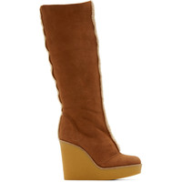 Tan Shearling Wedge Boots