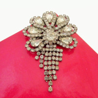 Rhinestone Brooch with cascade crystal tassels