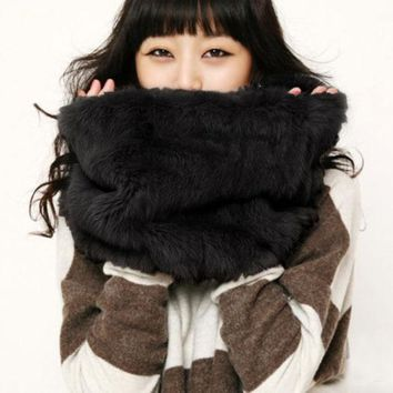DCCKI2G FASHION MULTICOLOR FUR COLLAR WARM SCARF