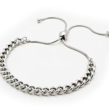Sterling Silver Adjustable Cuban Links Bracelet