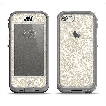 The Tan & White Vintage Floral Pattern Apple iPhone 5c LifeProof Nuud Case Skin Set