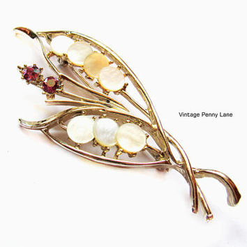 Vintage Mother of Pearl / Rhinestone Brooch, Gold Pin