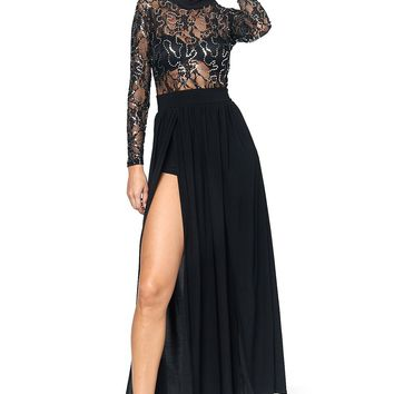 Ready To Be Sequined Maxi Skort Romper