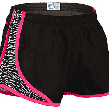 Soffe Juniors Black & White Animal Print with Neon Pink Piping Running Track Shorts