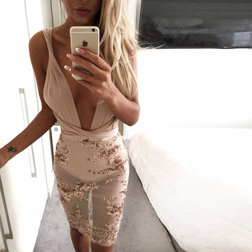 2016 Women backless Evening Party V Neck Sequin Sexy Club Sequined Night Bandage Sportswear Lady Slim mini  Vestido De Festa
