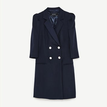 BLAZER DRESS WITH PEARL BUTTONS DETAILS
