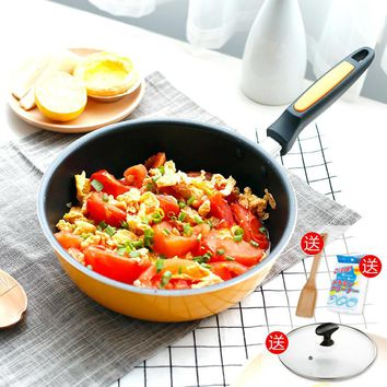 20cm Wok Mini Non-stick Pan Frying Pan No Oil Smoke Non-stick Pot Gas Induction Cooker Universal