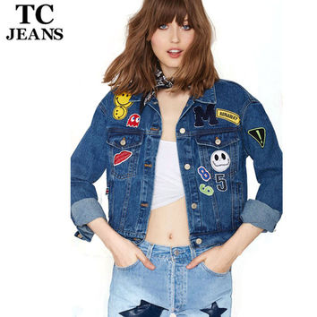 TC High Quality Women's Jeans Jackets Short 2016 Spring Fashion Patch Designs Long Sleeve Denim Coat Slim Women Tops FT00240